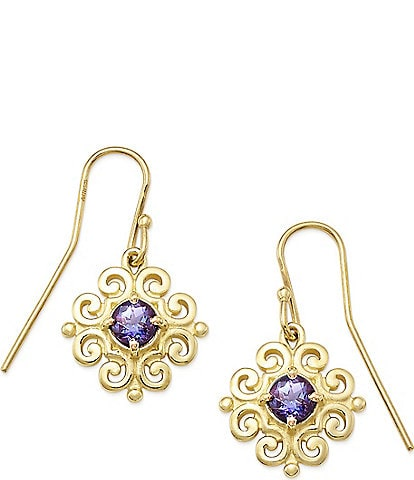 James Avery 14K Gold Scrolled Ear Hooks with June Birthstone