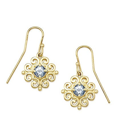 James Avery 14K Gold Scrolled Ear Hooks with March Birthstone