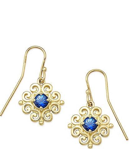 James Avery 14K Gold Scrolled Ear Hooks with September Birthstone