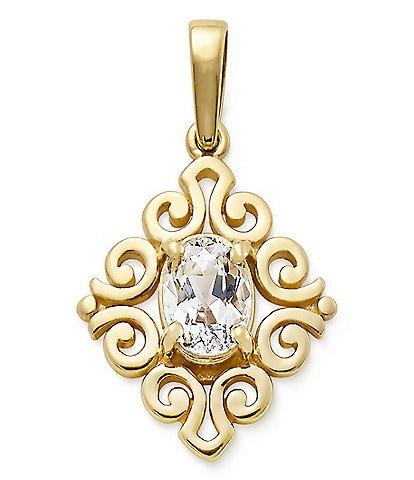 James Avery 14K Gold April Birthstone Scrolled Pendant