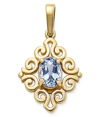 James Avery 14K Gold March Birthstone Scrolled Pendant