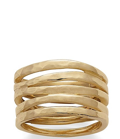 James Avery 14K Gold Stacked Hammered Ring