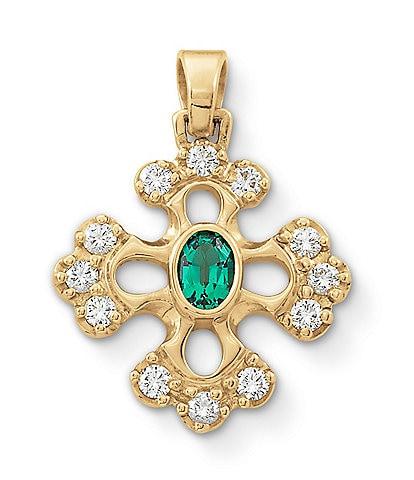 James Avery 18k Gold Botonnee Lab-Created Emerald Cross with Diamonds