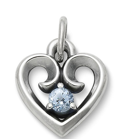 James Avery Avery Remembrance Heart Pendant March Birthstone with Aqua