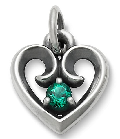 James Avery Avery Remembrance Heart Pendant May Birthstone with Lab-Created Emerald