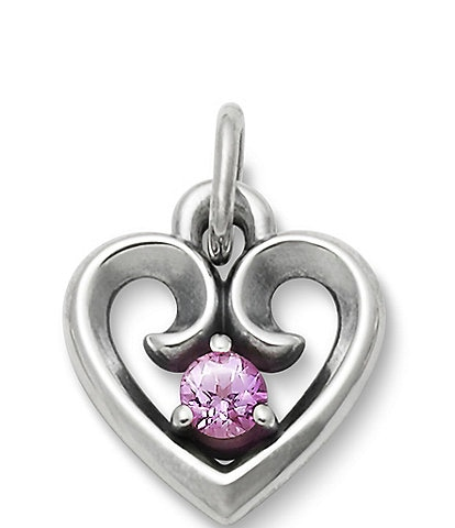 James Avery Avery Remembrance Heart Pendant October Birthstone with Lab-Created Pink Sapphire