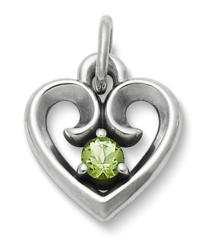 James Avery Avery Remembrance Heart Pendant with Peridot