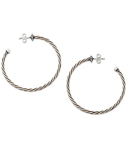 James Avery Bronze and Silver Twisted Wire Hoop Earrings