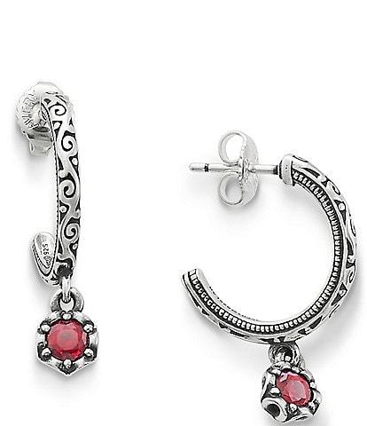 James Avery Cherished Lab-Created Ruby July Birthstone Hoop Earrings