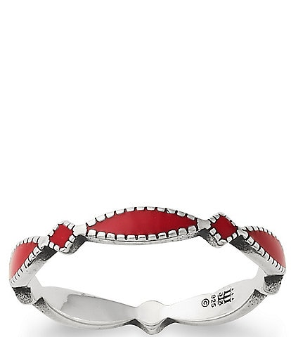 James Avery Red Enamel Cordoba Stacker Ring