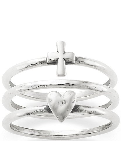 James Avery Faith & Love Ring Set