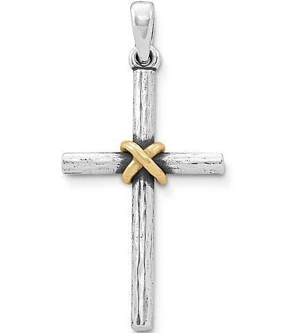 James Avery Forged Cross with 14K Gold Wrap Pendant