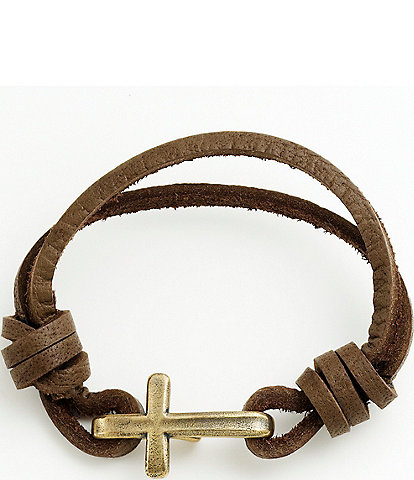 James Avery Bronze Cross Hook On Leather Bracelet