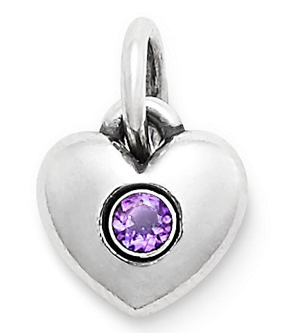 James Avery Keepsake Heart Charm February Birthstone with Amethyst