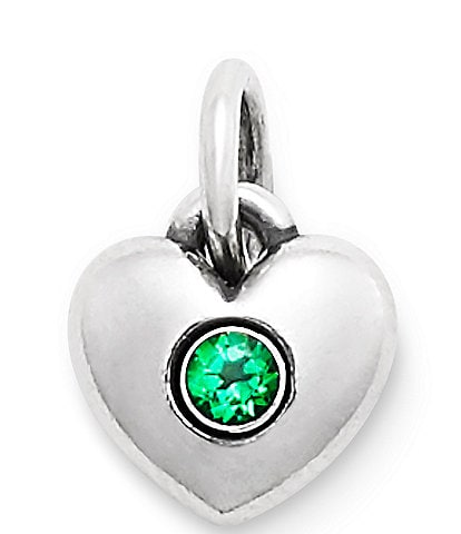 James Avery Keepsake Heart Charm May Birthstone with Lab-Created Emerald