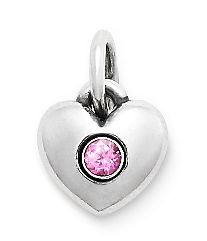 James Avery Keepsake Heart Charm October Birthstone with Lab-Created Pink Sapphire