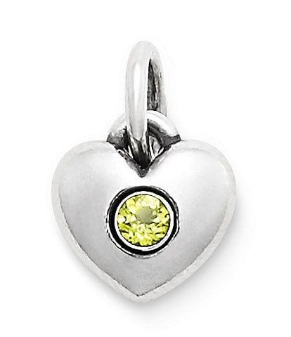 James Avery Keepsake Heart Charm August Birthstone with Peridot