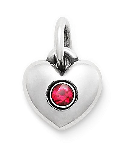 James Avery Keepsake Heart Charm July Birthstone with Ruby