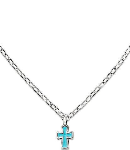 James Avery Petite Blue Enamel Cross Necklace
