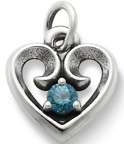 James Avery Remembrance Heart Pendant December Birthstone with Blue Zircon