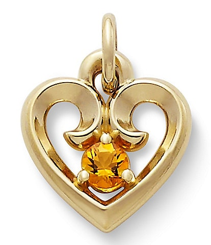 James Avery Remembrance Heart Pendant with Citrine