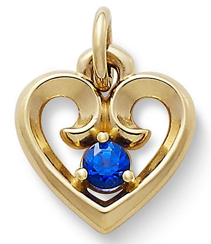 James Avery Remembrance Heart Pendant with Lab-Created Blue Sapphire