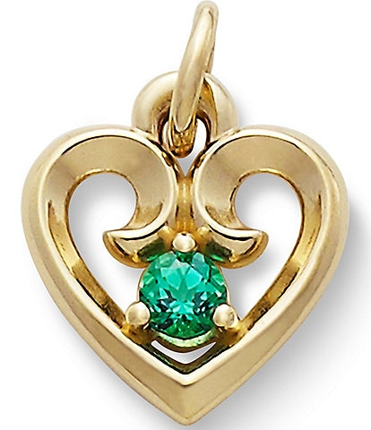 James Avery Remembrance Heart Pendant May Birthstone with Lab-Created Emerald