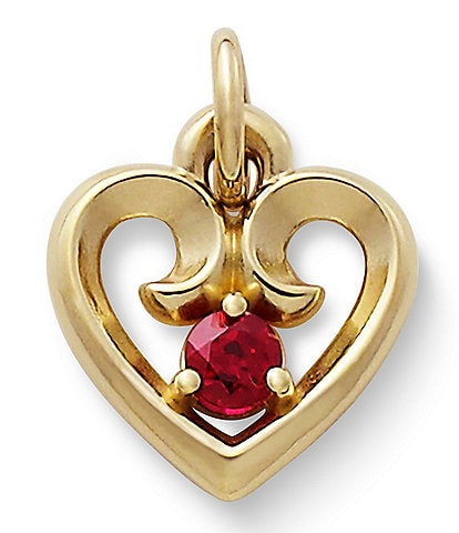 James Avery Remembrance Heart Pendant July Birthstone with Lab-Created Ruby
