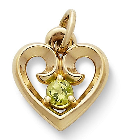 James Avery Remembrance Heart Pendant with Peridot
