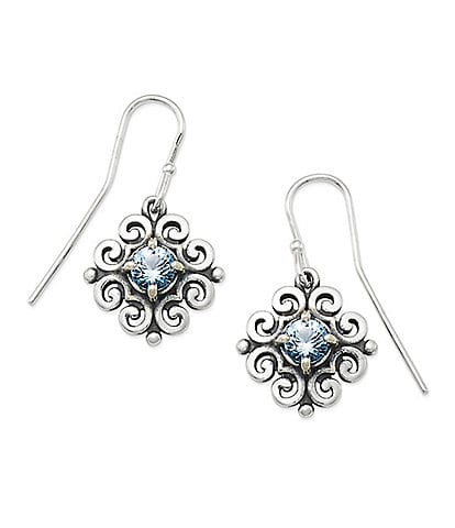 James Avery Scrolled Ear Hooks with December Birthstone