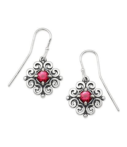 James Avery Scrolled Ear Hooks with July Birthstone