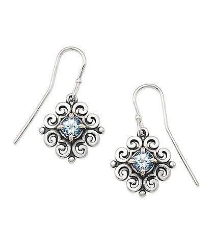 James Avery Scrolled Ear Hooks with March Birthstone