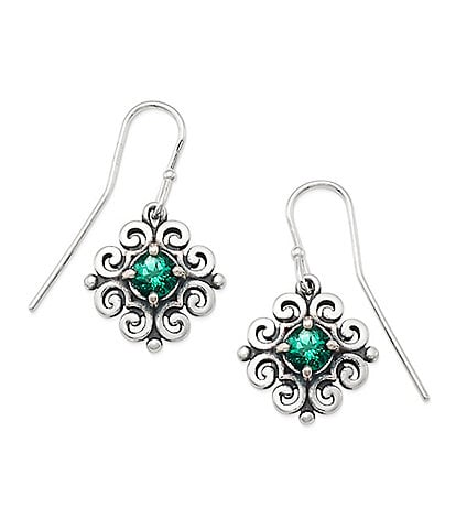 James Avery Scrolled Ear Hooks with May Birthstone
