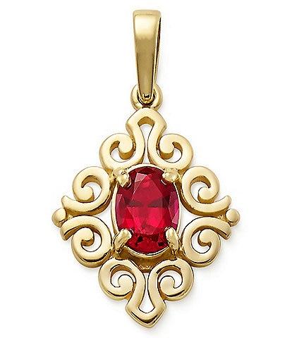 James Avery 14K Gold July Birthstone Scrolled Pendant