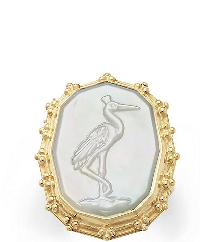 James Avery 14K Gold Sculpted Crane White Doublet Ring