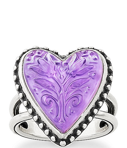 James Avery Sculpted Heart and Tulips Purple Doublet Ring