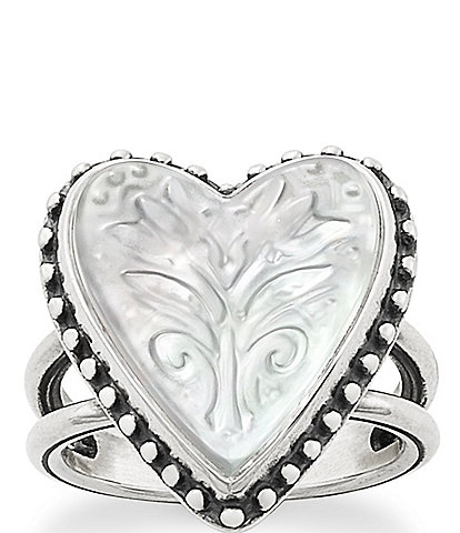 James Avery Sculpted Heart and Tulips White Doublet Ring
