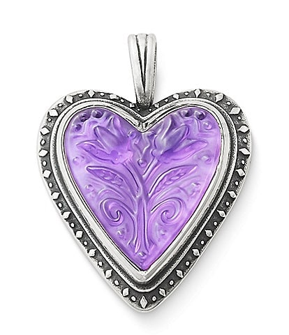 James Avery Sculpted Hearts and Tulips Purple Doublet Pendant
