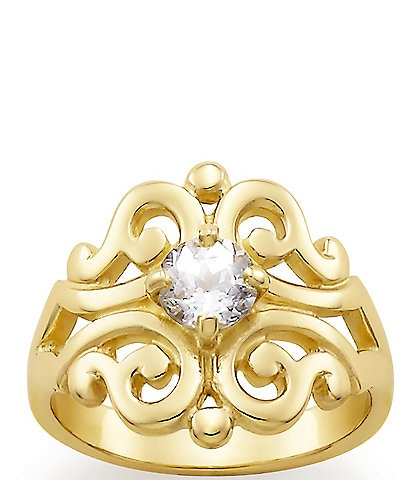 James Avery Spanish Lace Ring April Birthstone with Lab-Created White Sapphire