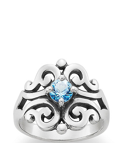 James Avery Spanish Lace Ring December Birthstone with Blue Topaz
