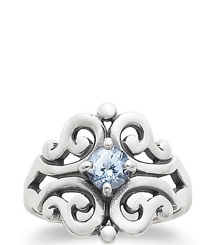 James Avery Spanish Lace Ring March Birthstone with Lab-Created Aqua Spinel