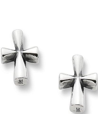 James Avery Sterling Silver St. Teresa Cross Stud Earrings