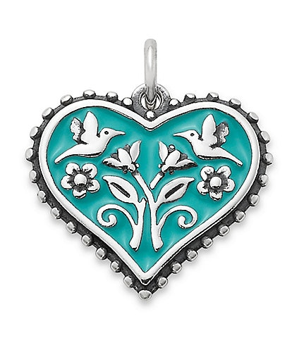 James Avery Teal Heart In Bloom Charm