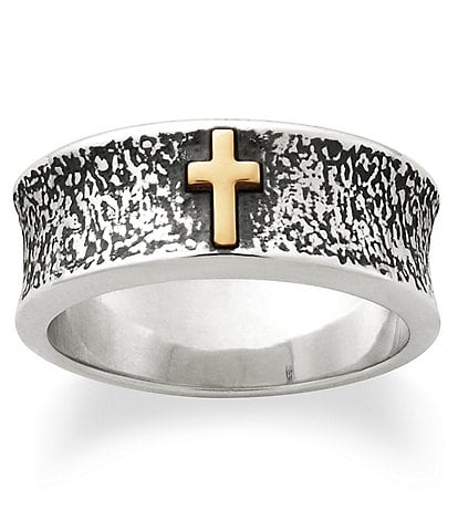 James Avery Textured Silver Band with 14k Gold Cross