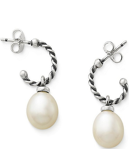 James Avery Twisted Wire & Pearl Earrings