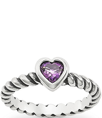 James Avery Twisted Wire Heart Amethyst Ring