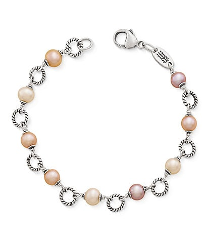1ed01d28954 James Avery Twisted Wire Link Bracelet with Multi-Colored Cultured Pearls