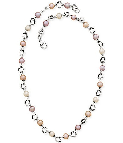 James Avery Twisted Wire Link Necklace with Multi-Colored Cultured Pearls