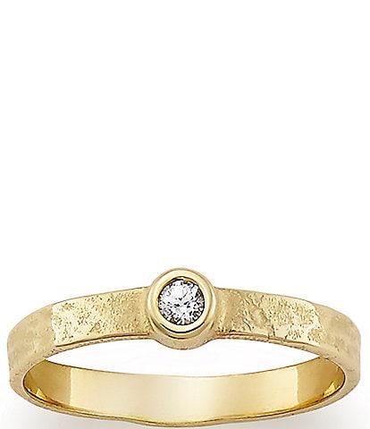 James Avery White Sapphire April Birthstone 14K Hammered Ring