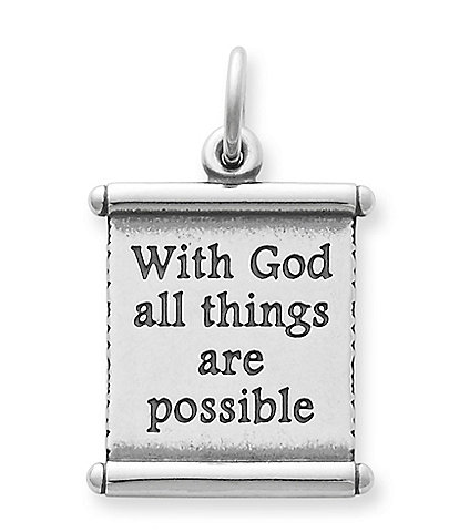 James Avery With God All Things Are Possible Scripture Scroll Sterling Silver Charm